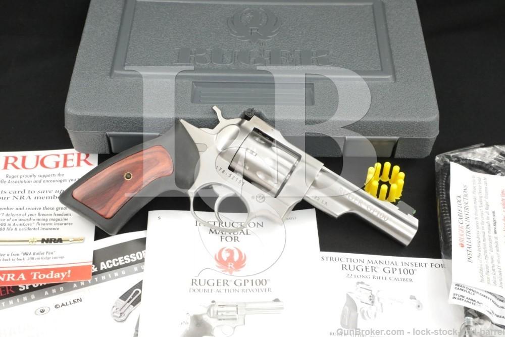 """Ruger GP100 10 SHOT! .22LR 4"""" Stainless Revolver MFD 2017 KSP-22-4"""