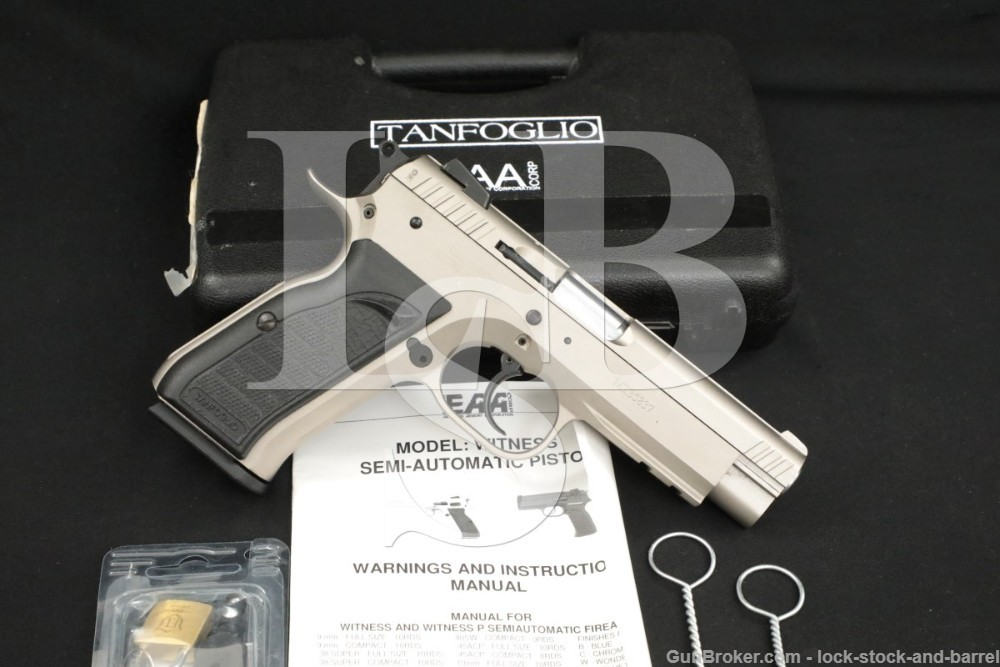 Tanfoglio EAA Witness 10mm 4.5″ DA/SA Semi-Automatic Pistol MFD 2016