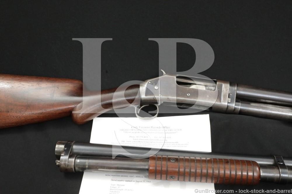 Winchester Model 1897 97 M97 12 GA Pump Shotgun 2x Barrel Set, MFD 1903 C&R