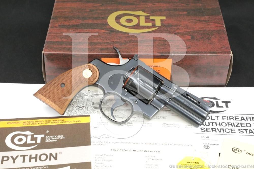 "Colt Model Python I3630 .357 Magnum 3"" Blue Vent Rib DA/SA Revolver 1983"