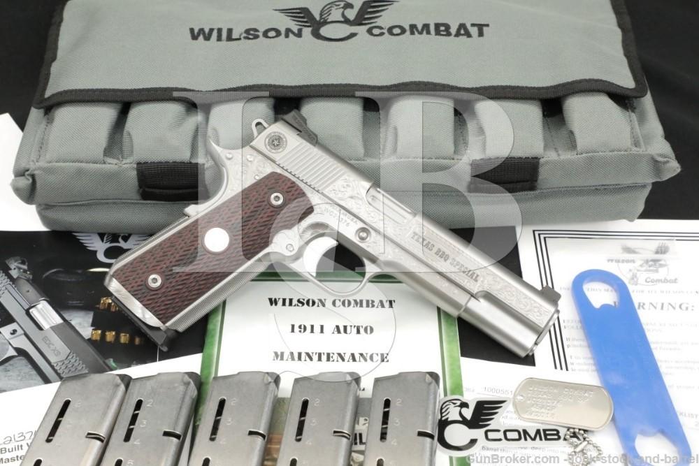 Engraved Wilson Combat Texas BBQ Special .45 ACP 5″ 1911 Semi-Auto Pistol