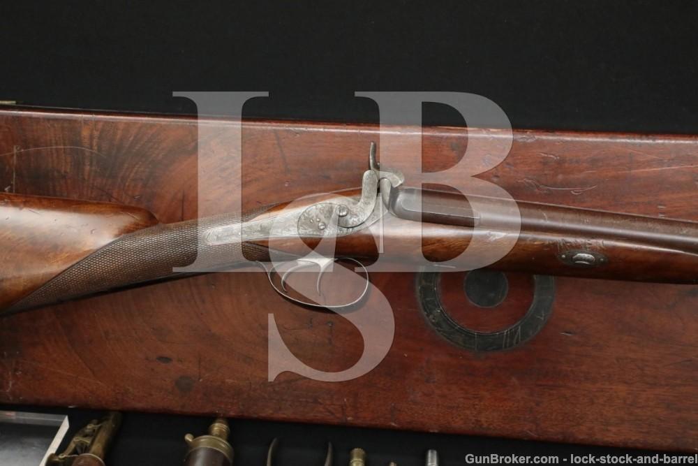 Joseph Manton & Son Back-Action 12 GA Percussion SXS Shotgun, 1830s Antique