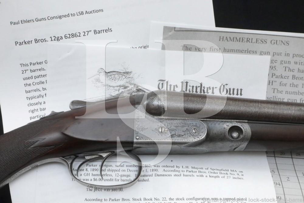 Parker Brothers GH Grade 2 Hammerless 12 GA SXS Double Shotgun 1890 Antique