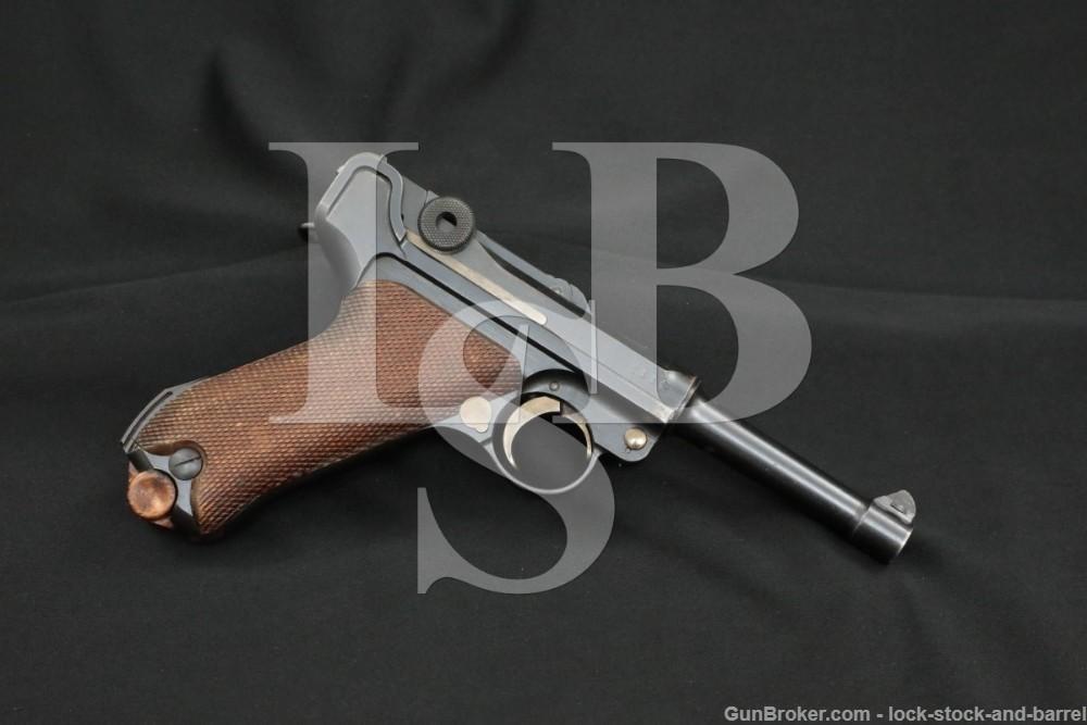 WWI German DWM P.08 P08 P-08 9mm Luger Semi-Automatic Pistol, MFD 1917 C&R