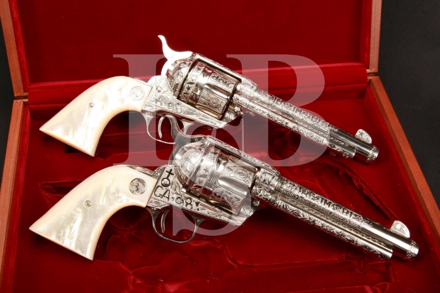 2nd Generation Colt Pair of John Barraclough Engraved 'Liberty & Justice' AMAZING Single Action Army Revolvers & Case, C&R