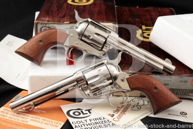 2x Colt Third 3rd Gen SAA Single Action Army 5.5″ PAIR Nickel SA Revolvers & Box Cat No P1656 .357