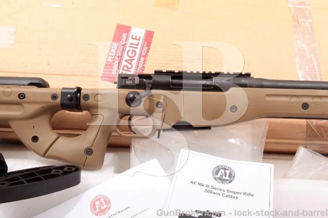 "Accuracy International AE MK III AE MKIII MK3 Black & Dark Earth 20"" Precision Bolt Action Rifle"