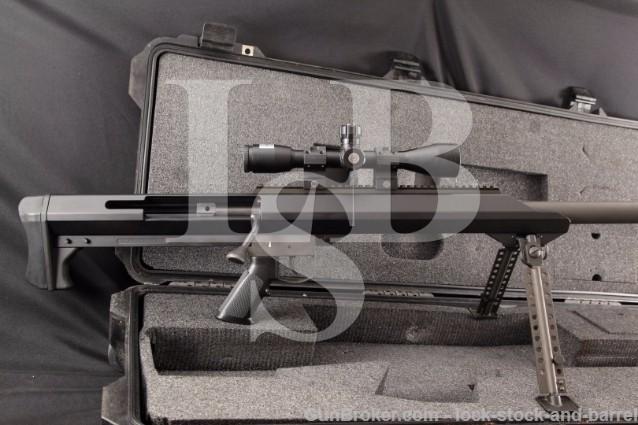 "Barrett M99 Single Shot Rifle, Muzzle Brake, Bipod 32"" Bolt Action Rifle, Scope & Case .416 Barrett"