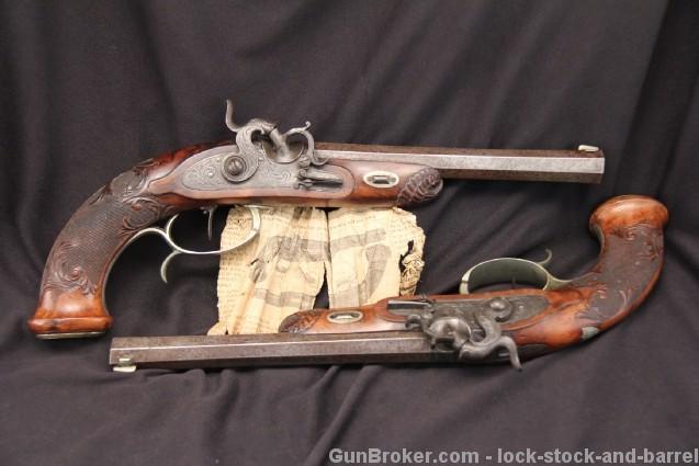 Beautiful Pair of P. Ebert & Sohne Suhl Pistols .50 Caliber Percussion Target Pistols - Antique