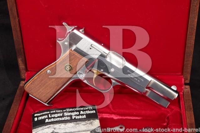 "Belgian Browning Centennial Hi-Power P35 & Case 1978 Chrome High Power 4 5/8"" Semi-Auto Pistol C&R"