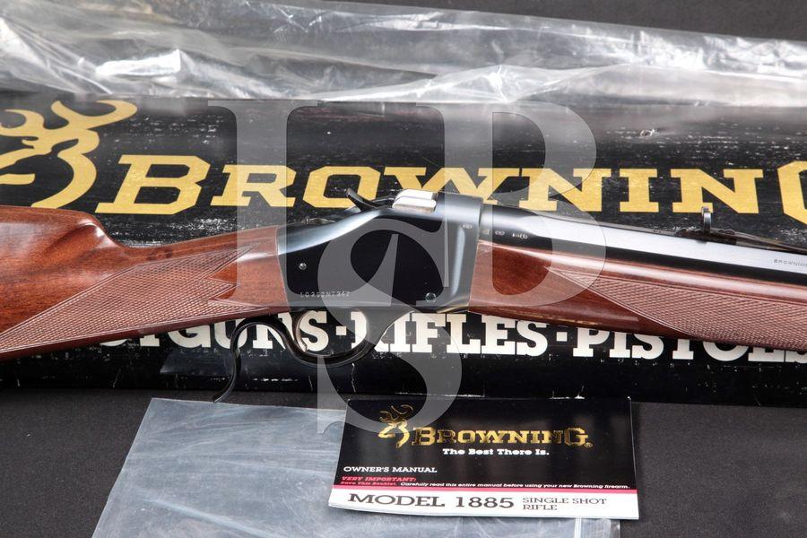 "Belgian Browning Model 1885 Grade I High Wall Falling Block, Blue Octagonal 28"" Single Shot Exposed Hammer High Wall Rifle & Box"