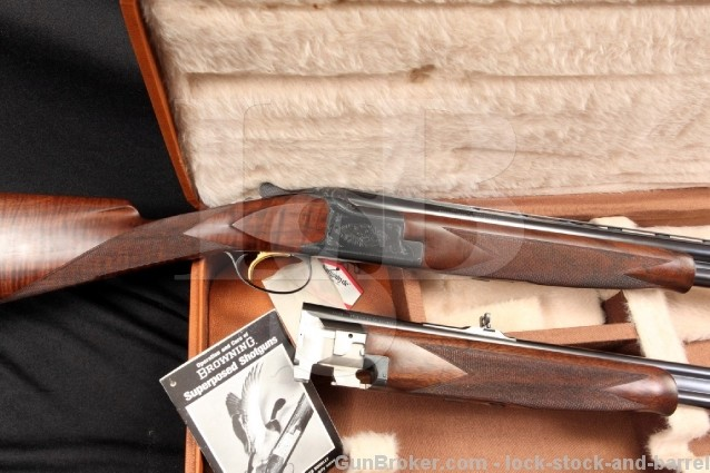 belgian browning superposed continental cased set double rifle