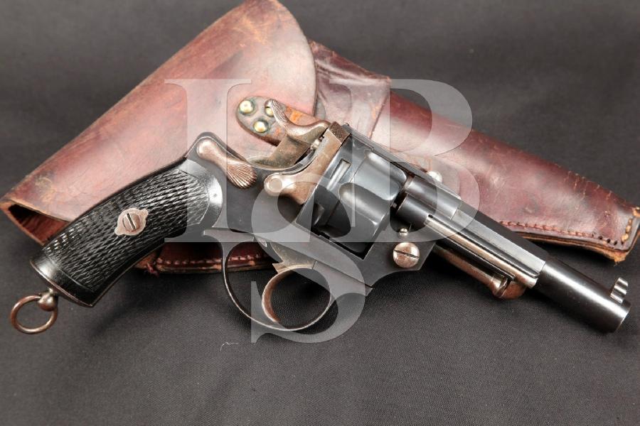 "Belgian Model Chamelot & Delvigne M1874 Revolver d'Officier, Blue 4 3/8"" Double Action Revolver & Holster 1874-1893 Antique"