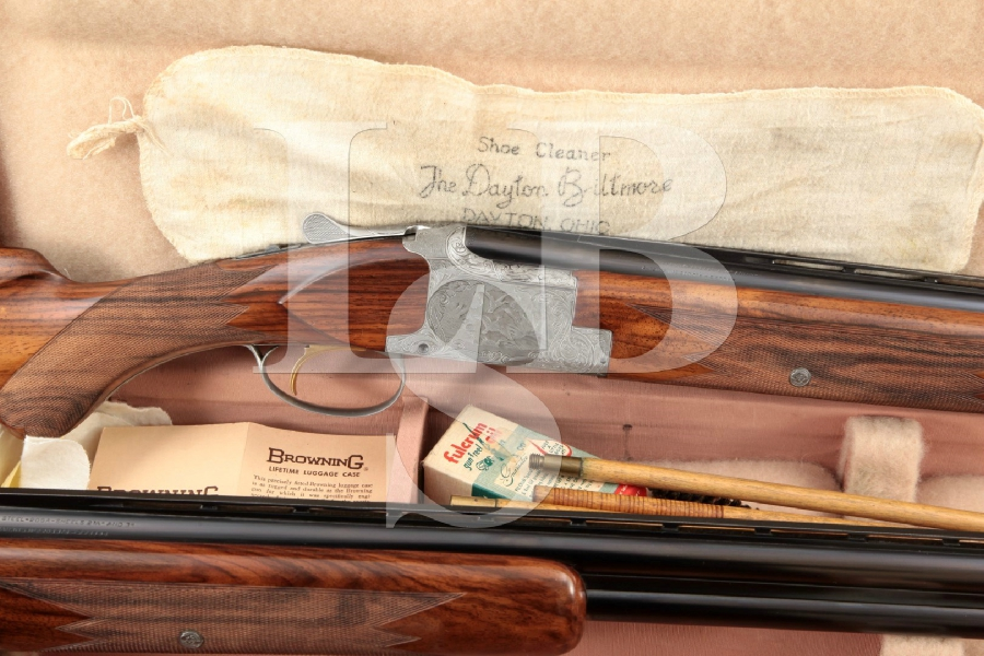 "Belgium Browning Superposed Diana Grade, 2 Barrel Set, Blue, French Gray & Gold Inlay 26 & 28"" 20 Gauge Over Under Shotgun & Luggage Case, MFD 1963 C&R"
