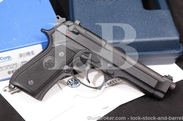 Beretta 92 Brigadier FS P09219FBT, Black 4.9″ 9mm SA/DA Semi-Auto Pistol & Box, MFD 1998