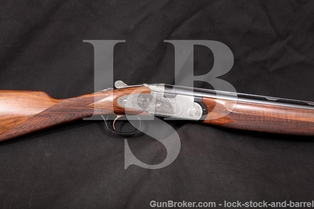 "Beretta Bottega Giovanelli Engraved 687 EELL 20 Ga Blue & White 26"" Vent Rib O/U Over Under Shotgun"