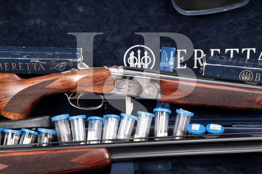 "Beretta Model 687 Silver Pigeon II Sporting Combo J.E.G. Special, Blue & Nickel Engraved 28"" Over Under Sporting Shotgun, 2 Barrel Sets & Case"