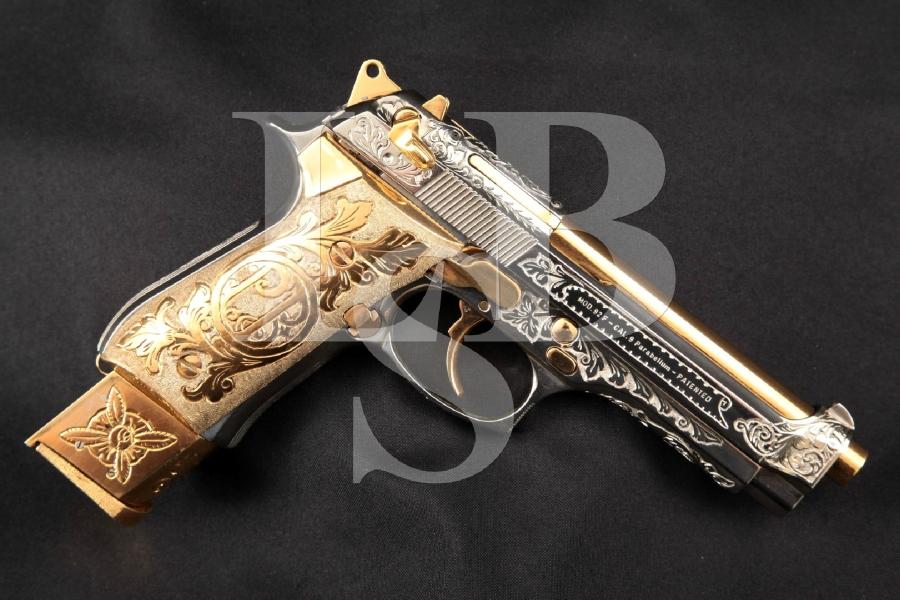 "Beretta Model 92F: Hand Engraved Brass, Chrome & Gold Plated 4.9"" DA/SA Semi-Automatic Pistol & 21 Round Magazine"