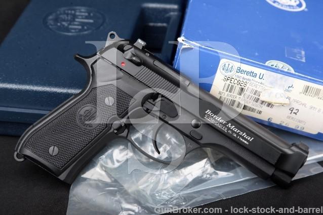 """Beretta USA 92 Brigadier FS Border Marshal 9mm Bruniton & Black 4.7"""" SA/DA Semi-Auto Pistol & Box"""