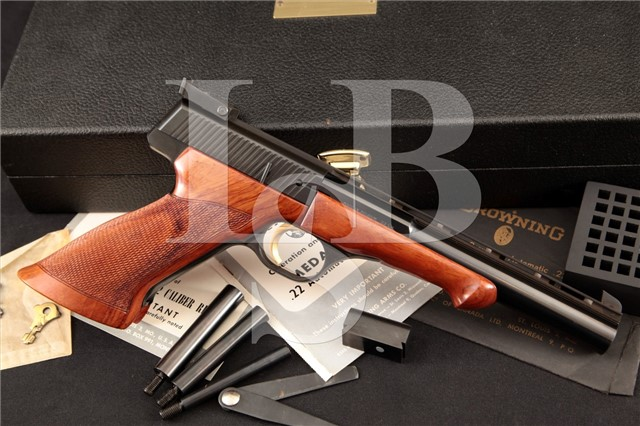 Browning FN Fabrique Nationale Medalist Target .22 Semi-Automatic Pistol & Case MFD 1966 C&R OK