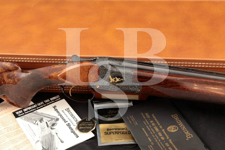 "Browning (Fabrique Nationale) Superposed Skeet, Midas Grade Godimus / Dewill Engraved, Blue 28"" Over / Under O/U Shotgun & Hard Case, MFD 1970"