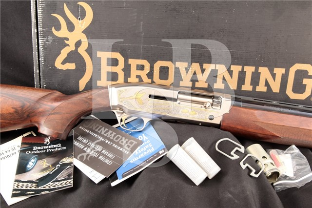 Browning Golden Sporting Clays, Gold & Blue 28″ Semi Automatic Shotgun, Chokes & Box, MFD 2004