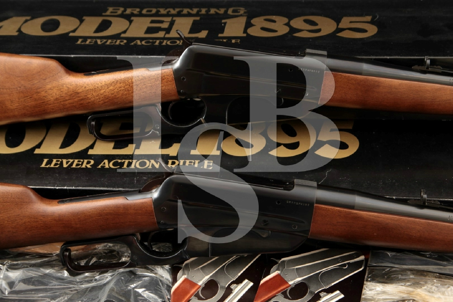 """Browning Limited Edition Grade I 1895, Consecutively Numbered, Mint Blue 24"""" Lever Action Rifles & Boxes, MFD 1984 ONLY"""