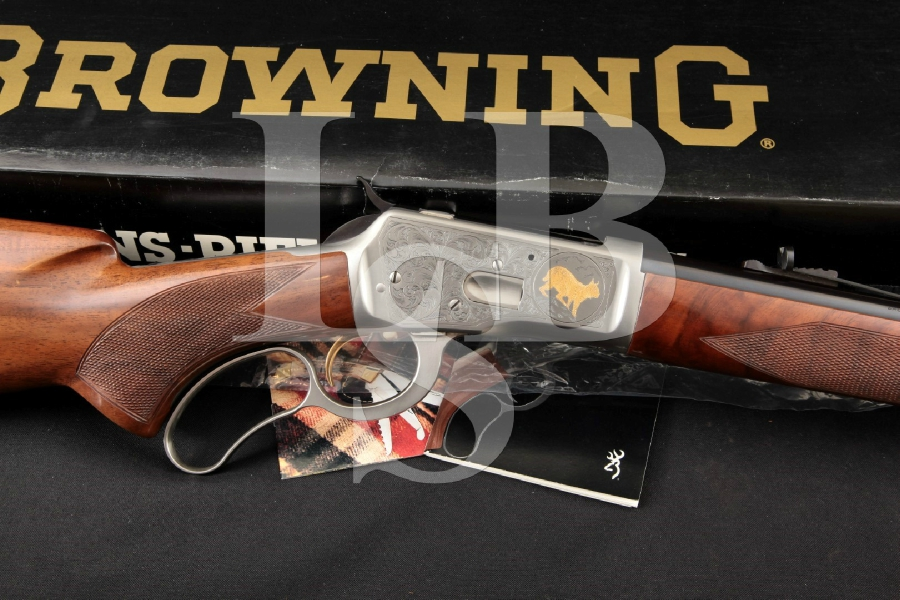 """Browning Model 65 High Grade, T. Naka Engraved Gray, Gold Plated & Blue 24"""" Lever Action Tube Fed Rifle & Box, MFD 1989"""