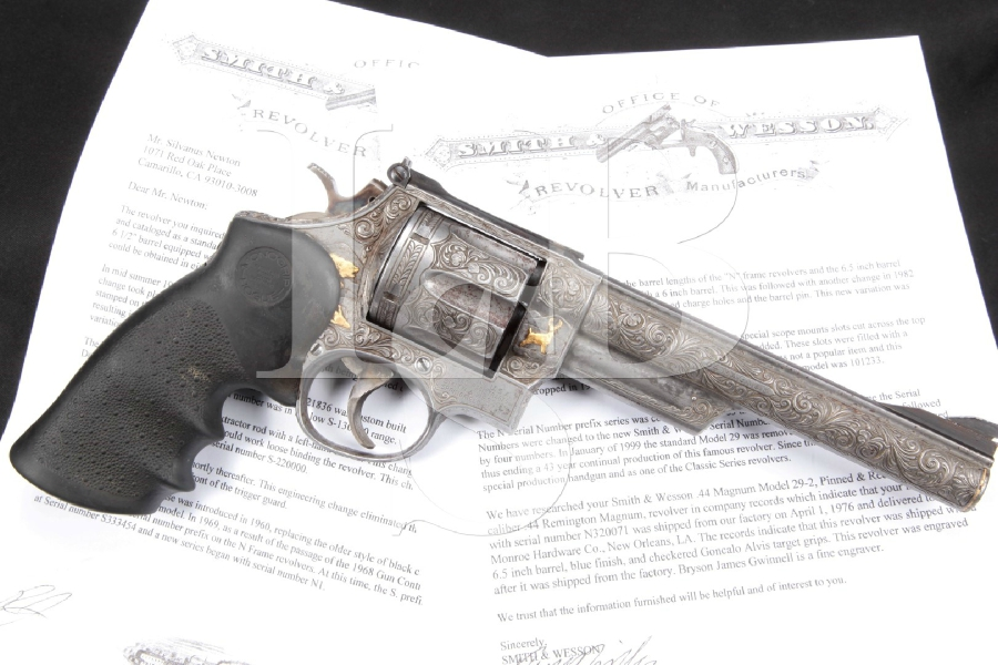 "Bryson James Gwinnell Engraved S&W Smith & Wesson Model 29-2: 'The .44 Magnum', 6 ½"" Double Action Revolver & Factory Letter, MFD 1976"