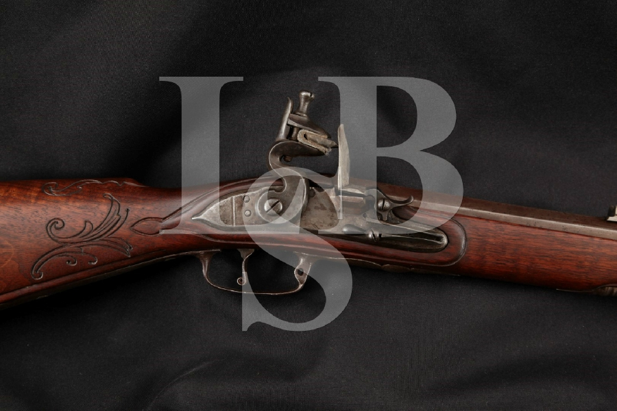 Buchel from Mehlis (Thurengia Prussia) Infantry Jaeger Flintlock, In the White 25 1/4 Single Shot Rifle & Rod, MFD 1810-1820 Antique