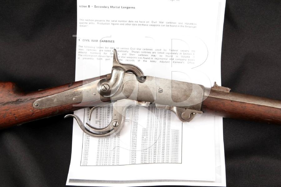 Burnside 5th Model Carbine, Civil War 6th Illinois Cavalry Documented, Blue & Case 21 Single Shot Rotating Block Rifle, MFD 1864 Antique