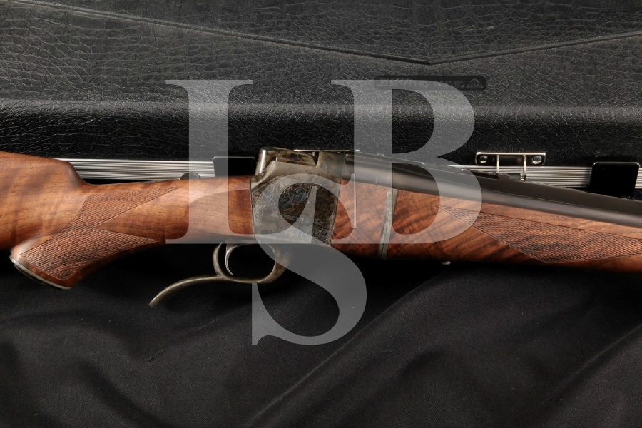 "Butch Searcy & Co. BS1 Stalking Model, Superb Wood Blue & Case Colored 24 7/8"" Falling Block Takedown Rifle & Case, MFD 2000's"