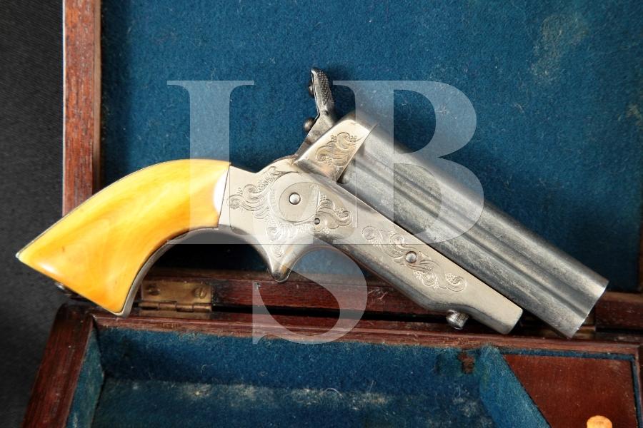"C. Sharps Arms Model 2A 1b, Blue & Silver-Plated Brass 3"" 4-Shot Rotating Firing Pin Pepperbox, MFD 1859-1862 Antique"