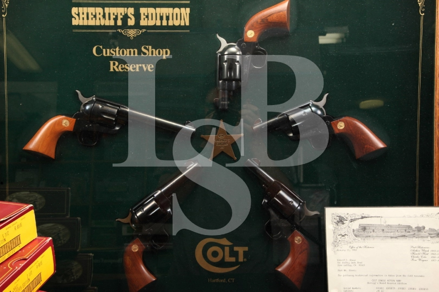 Cased Colt Sheriff's Edition 5-Gun .45 LC Single Action Army Revolver Factory Set