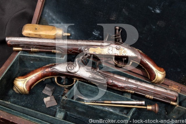 Cased Pair Flintlock Dueling Pistols & Accessories .54-.58 Caliber Antique