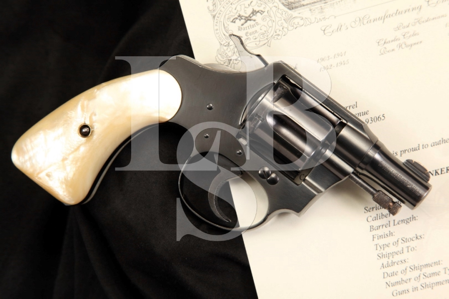 Colt .22 Bankers Special .22 LR 2 Inch Double Action Revolver & Letter, MFD 1933 C&R
