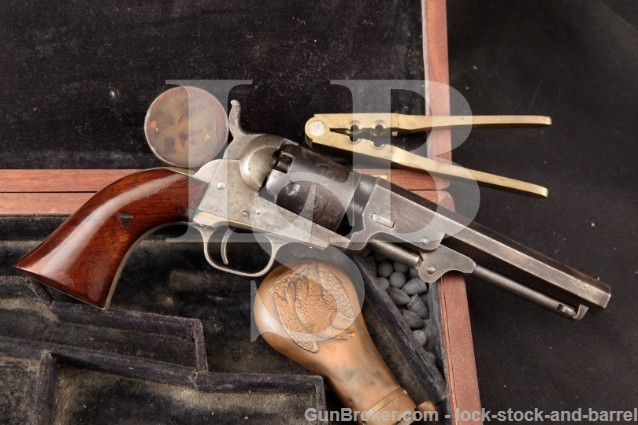 Colt 1849 Pocket, Pre-Civil War, Silver Plated 5″ Percussion Revolver, Period Case & Tools – 1855