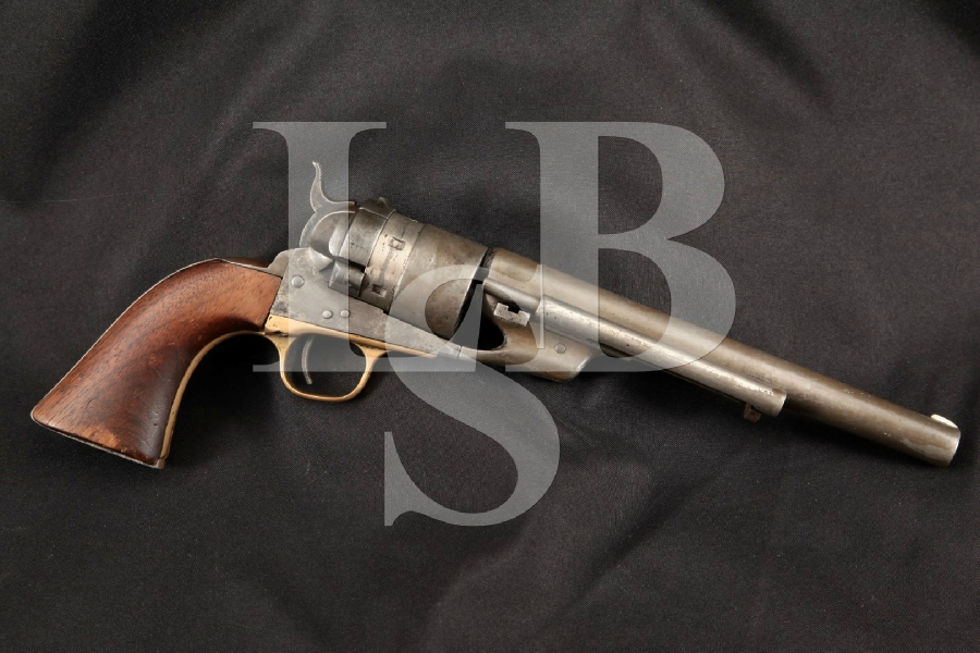 """Colt 1860 Army C.B. Richards Centerfire Converted, Refinished Nickel 7 5/8"""" 6-Shot, Single Action Revolver, MFD 1870's Antique"""