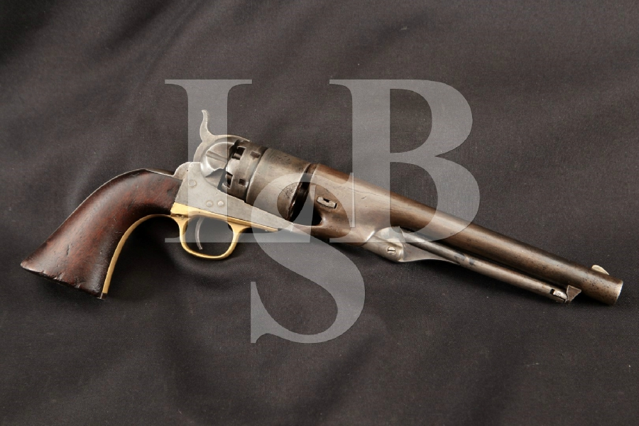 "Colt 1860 Army Model, Civil War-Era Inspector Marked, Blue & Case Colored 8"" 6-Shot SA Single Action Revolver, MFD 1862 Antique"