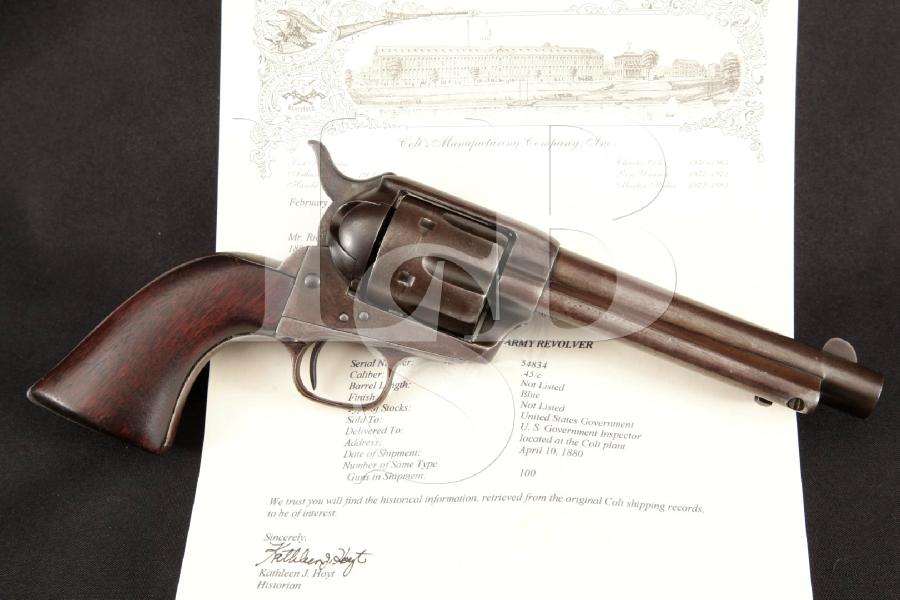 Colt 1873 SAA 1st Gen. Artillery Model, U.S. Marked & Lettered, Nickel 5 1/2 Single Action Army Revolver, MFD 1880 Antique