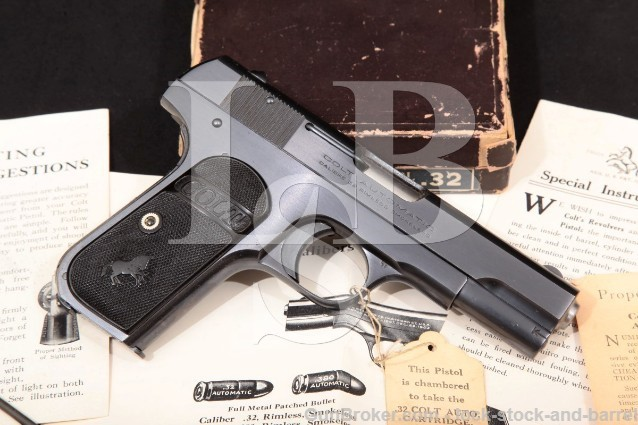 Colt 1903 Type III Pocket Hammerless .32 Auto Semi-Automatic Pistol & Box, MFD 1925 C&R