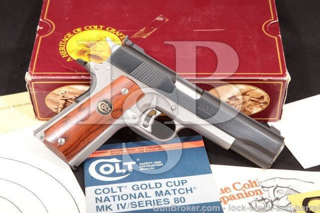 "Colt 1911 Gold Cup National Match .38 Super Elite 5"" Blue & Stainless Steel, MFD 1987 & Box, C&R OK"