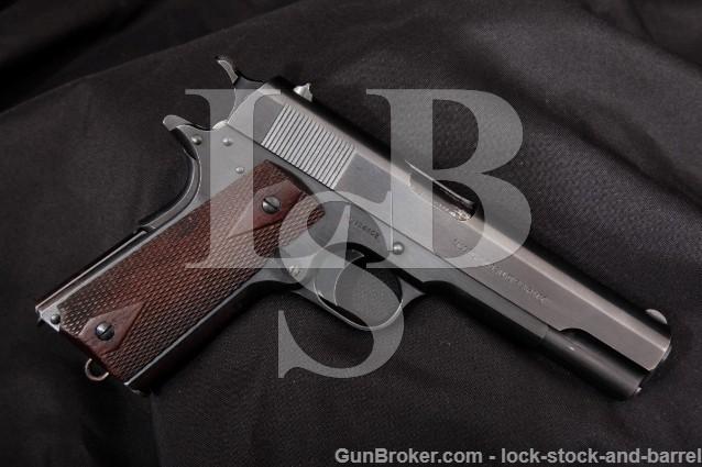 """Colt 1911 Government Model WWI U.S. Army .45 ACP Blue 5"""" SA Semi-Automatic Pistol, MFD 1915 C&R"""