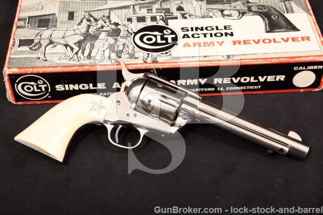 "Colt 2nd Gen Single Action Army SAA, Nickel 5 1/2"" 6-Shot SA Revolver & Box, 1966 C&R .357 Magnum"