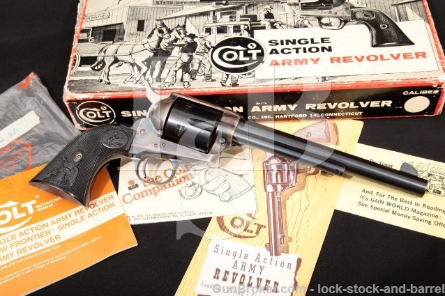 "Colt 2nd Generation Single Action Army SAA .45 Blue & Case Colored 7 1/2"" Revolver & Box MFD 1973"