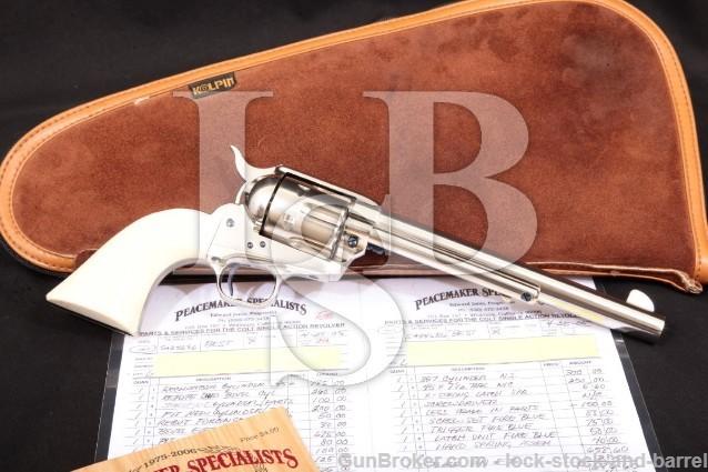 Colt 3rd Gen Single Action Army SAA Nickel 7 1/2″ Peacemaker Specialists Custom Revolver, 1980 .45