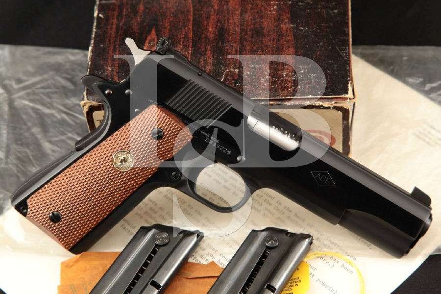 "Colt Ace Service Model 01974 (Like 1911-A1), Sharp Matte & Polished Blue 5"" SA Semi-Automatic Pistol, Box & 3 Mags, MFD 1981"