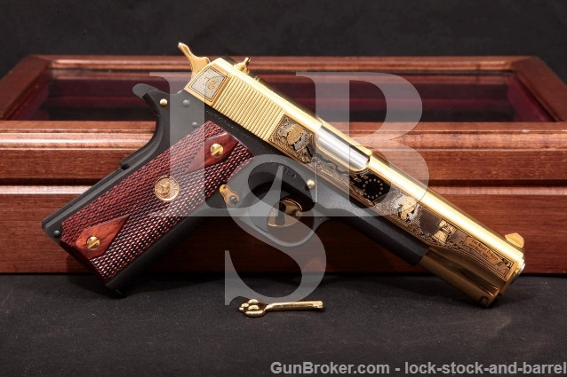 """Colt America Remembers Founding Fathers 2A 1911 Blue & Gold 5"""" Pistol & Wood Case, 2011 .45 ACP"""