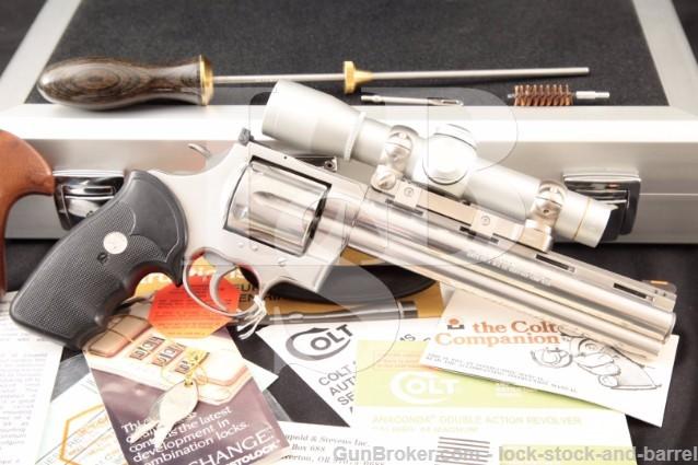 Colt Anaconda .44 Magnum 8″ Stainless Revolver Cleaning Rod, Americase & Leupold M8-2x ERR Scope