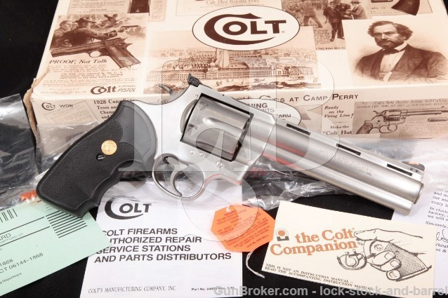 "Colt Anaconda MM3060, Stainless 6"" SA/DA Double Action Revolver & Box, MFD 1992 .44 Magnum"